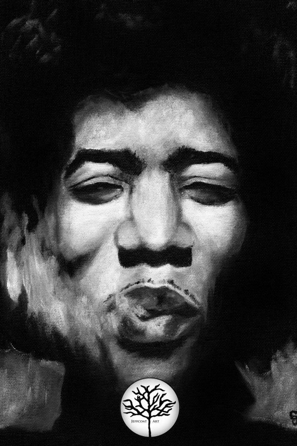 Jimi Hendrix Wall Art, black and white painting of musician by Jeffcoat Art