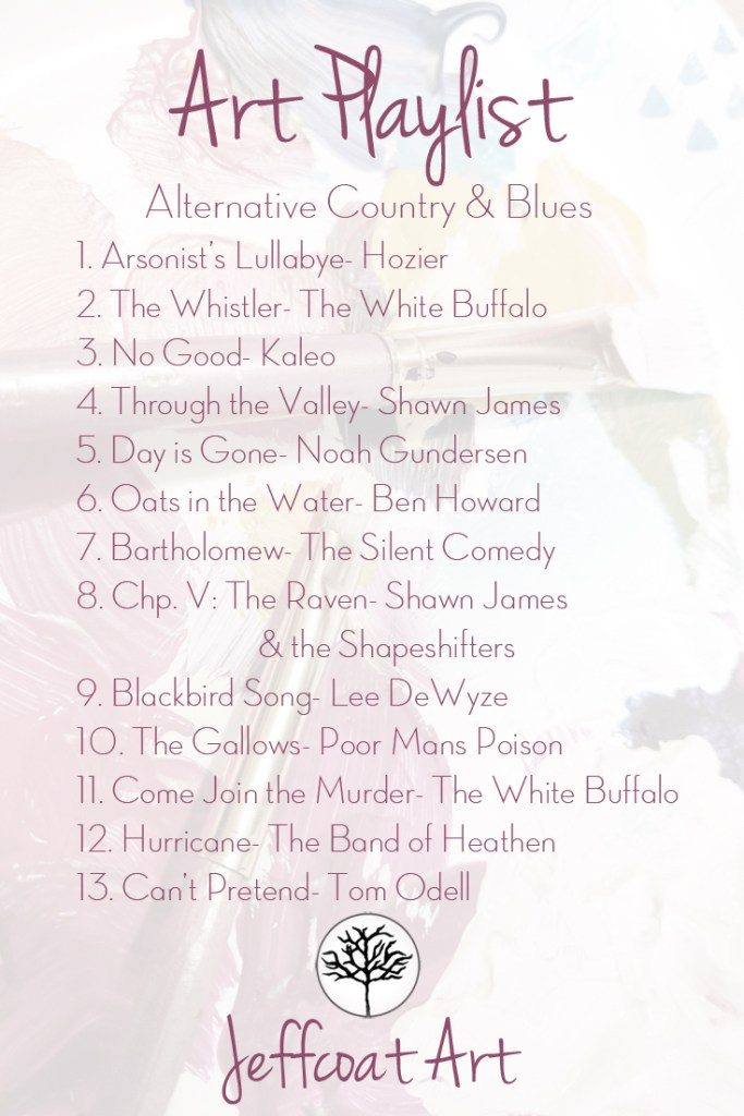 Music playlist of alternative country and blues songs-jeffcoat art