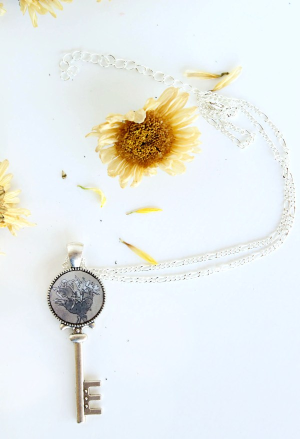 Summer Country No.3 Necklace-silver key-shaped necklace with sepia inking of flower handmade by Jeffcoat Art
