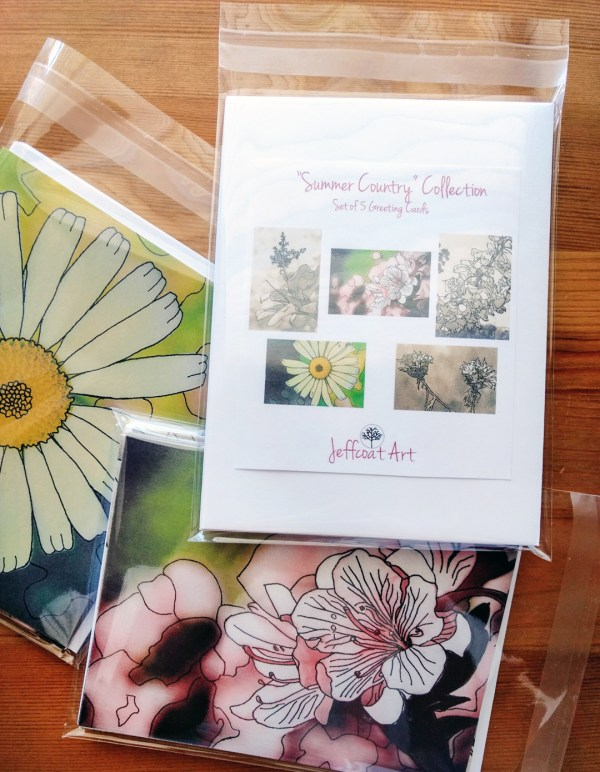 Summer Country Greeting Cards-5 blank note cards featuring five different nature inkings by Jeffcoat Art