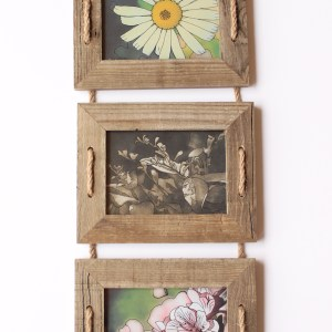 Summer Country Art Triptych-three rustic wooden frames featuring unique flower inkings by Jeffcoat Art