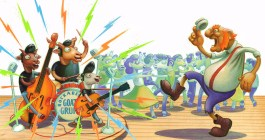The Rockabilly Goats Gruff written and illustrated by Jeff Crosby for Holiday House