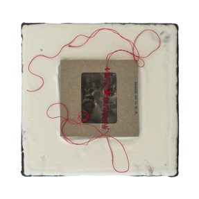Cradled Wood Panel - Encaustic - 35mm Slide - Thread - 4x4x1 inches - 2016