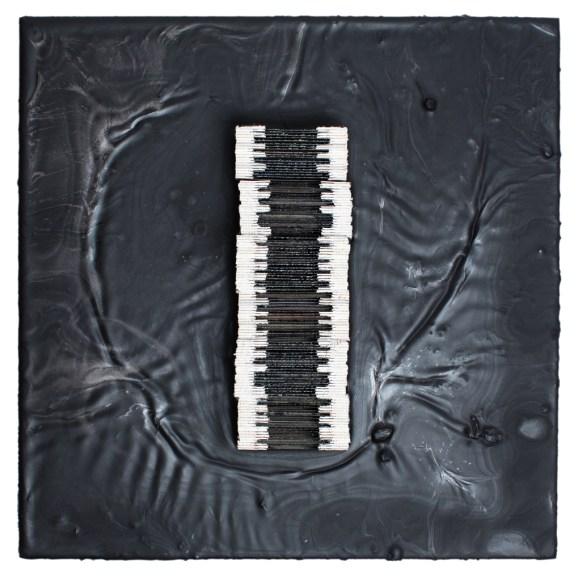Cradled Wood Panel - Encaustic - 35mm Slide - Cinders - Ash - 10x10x3 inches - 2016