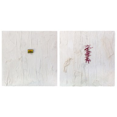 Diptych - Impregnated -Cradled Wood Panel - Medical Gauze - Plaster - Matches - Match Box - Thread - 24x24x1 inches - 2017