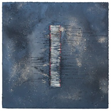 Match Spine #1 - Cradled Wood Panel - Encaustic - Matches - Cinders - Ash - 24x24x1 inches - 2017