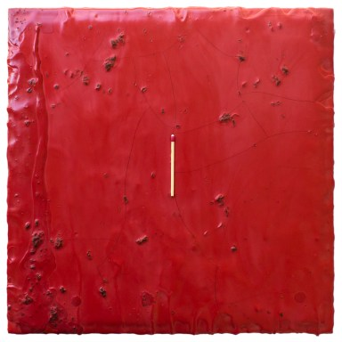 Cradled Wood Panel - Encaustic - Wooden Match - 12x12x1 inches - 2016