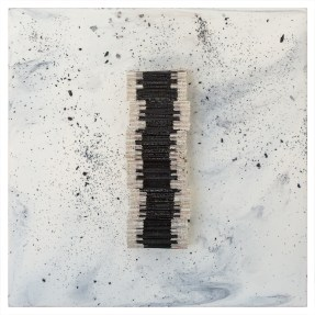 Cradled Wood Panel - Encaustic - 35mm Slide - Cinders - Ash - 10x10x3 inches - 2017