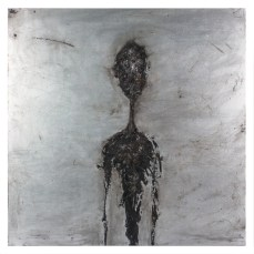 Figure #4 - Cradled Wood Panel - Oil Paint - Cinders - Ash - Charcoal - 24x24x1 inches - 2017