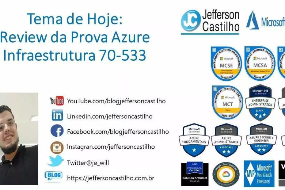 Review da Prova Azure Infraestrutura 70-533