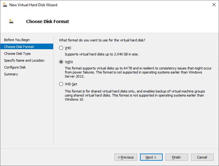"""Criando um disco """"Dynamically"""" no Hyper-V Server 2019"""