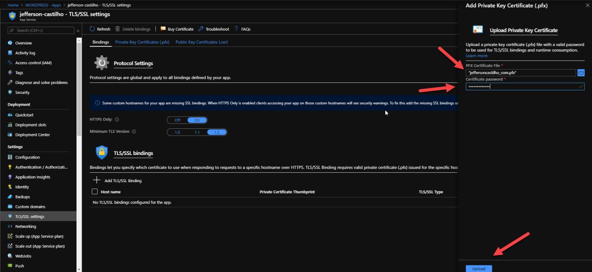Instalando um Certificado SSL em uma WebApp Azure