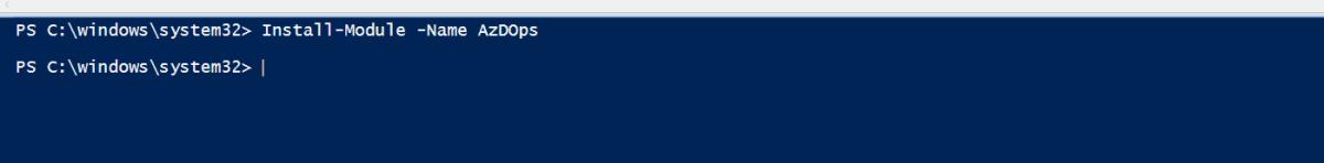 Instalando o modulo de Powershell do Azure DevOps