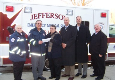 Jefferson EMS (CPR Manikins for training) -- Sue Reinen, Bob Dewolfe, Barb Mayhew, Andy Didion, Dr. David Volk, Mike Swartz