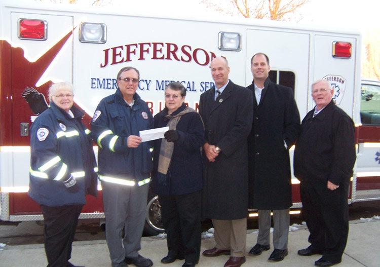 Jefferson EMS (CPR Manikins for training) -- Sue Reinen, Bob Dewolfe, Barb Mayhew, Andy Didion, Dr. David Volk, Mike Swartz