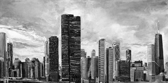 Chicago Skyline, Acrylic on Canvas ~ SOLD