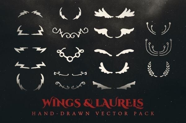 wings and laurels vector pack