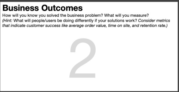 Box 2 of the Lean UX Canvas - business outcomes