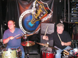 Jeff & Alec Fraser clowning on the drums