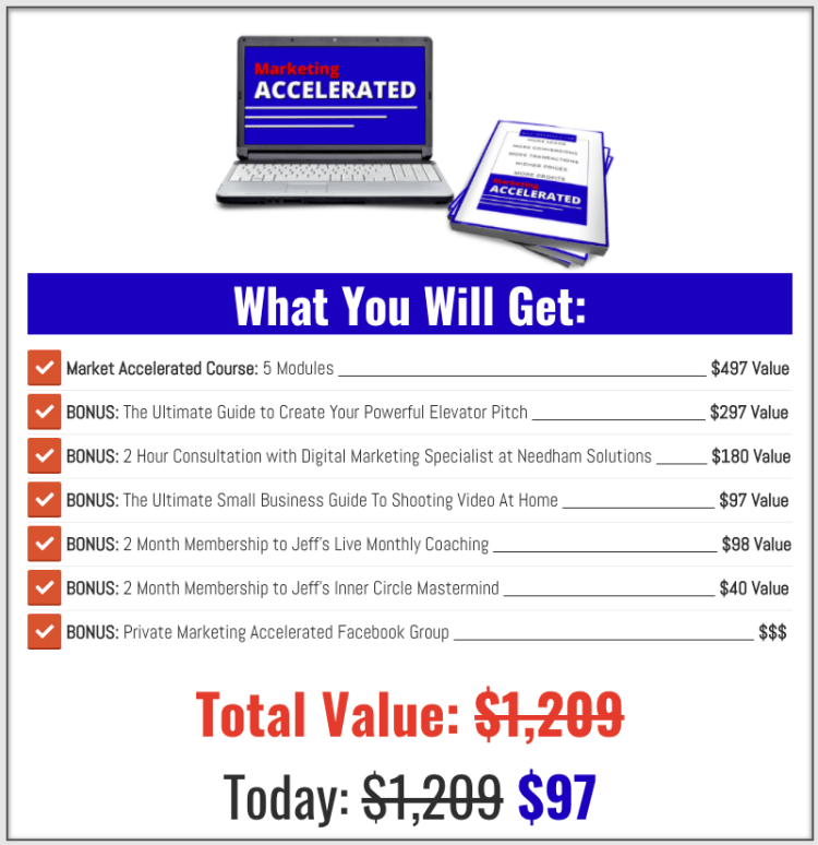 Jeff Heggie's Marketing Accelerated online course and bonus material. Valued at $1,209 for only $97