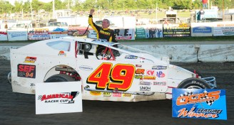 """""""The Jeffer"""" takes the Bob Dini 49er to victory lane at OCFS."""
