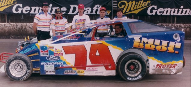"""""""The Jeffer"""" and the Smith Bros. 74 team on the grid at Syracuse."""