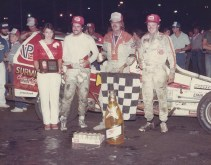 """""""The Jeffer"""" is victorious over dirt track legends Jimmy Horton and Danny Johnson."""