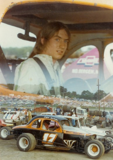 """""""The Jeffer"""" climbs aboard his brother Ralph's race car for the first time ever at the Orange County Fair Speedway - The rest is history."""