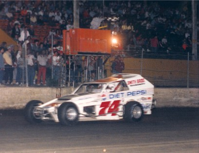 """""""The Jeffer"""" pilots the Diet Pepsi sponsored Smith Bros. 74 to victory at OCFS."""