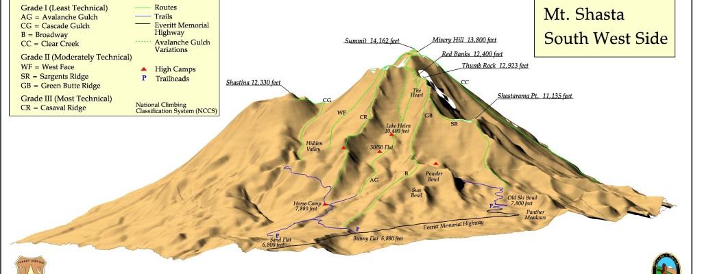 Southwest climbing routes up Mount Shasta
