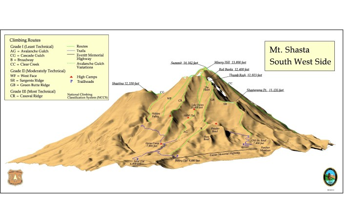 Overview of the southwest climbing routes up Mt Shasta
