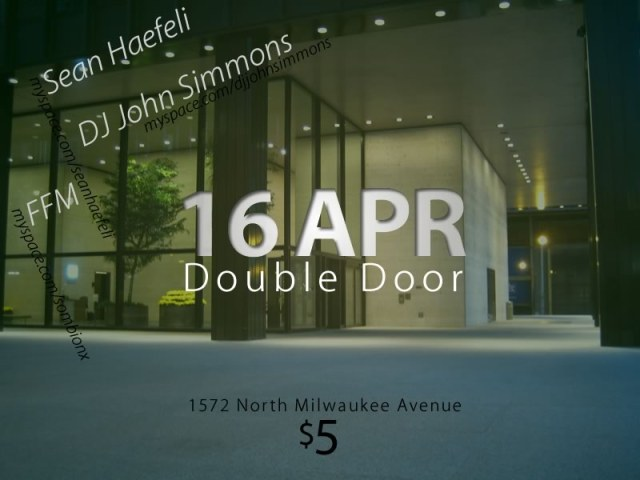 Sean Haefeli Concert Flyer. April 16th, Double Door. Chicago.