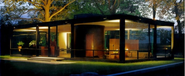 Philip Johnson's Glass House at dusk
