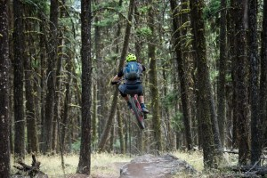 Jeff Kendall-Weed on a mountain biking jump in Canada