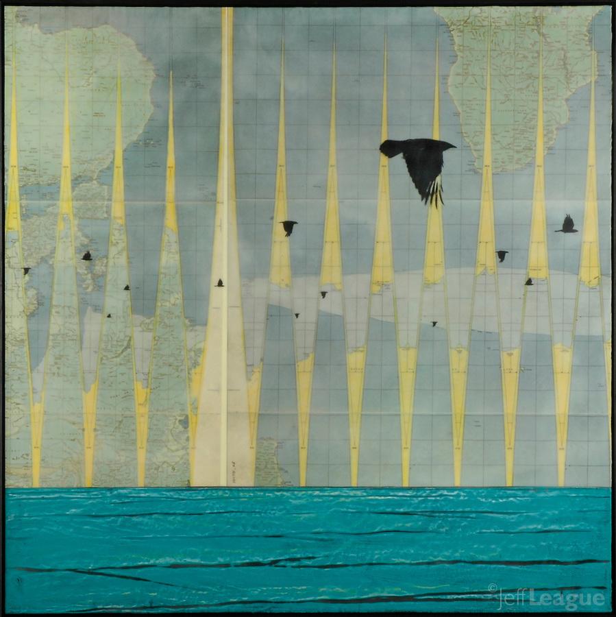 encaustic painting Global Vibration 42 x 42