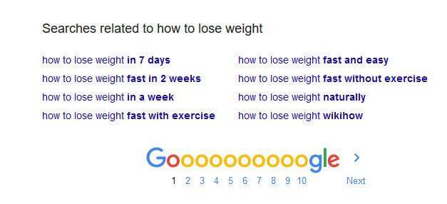 Palabras clave relacionadas con Google en la parte inferior de la página de resultados de búsqueda