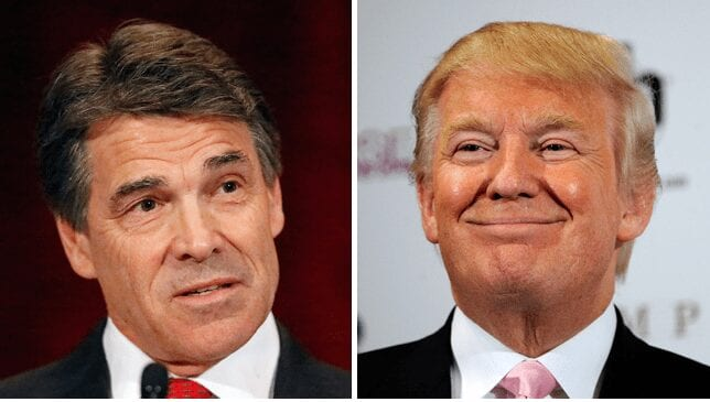 "Rick Perry to Donald Trump: ""The American people need an apology."" Ronald Trump to Rick Perry: ""Blow me."""
