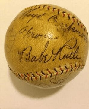 An authentic Babe Ruth-signed baseball.