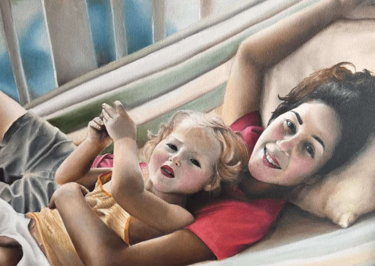 With our daughter Casey back in the day (painting by Greg Kuppinger)