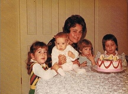 Back in the day with her grandchildren (from left) Robin, Deborah, Catherine and Leah