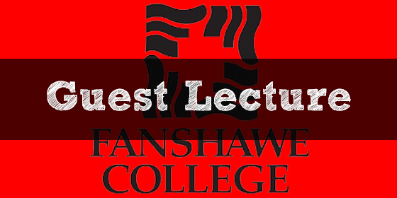 """""""Guest Lecture"""" written above the Fanshawe College logo"""