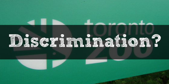 """Toronto Zoo logo with the text """"Discrimination?"""" written over it"""