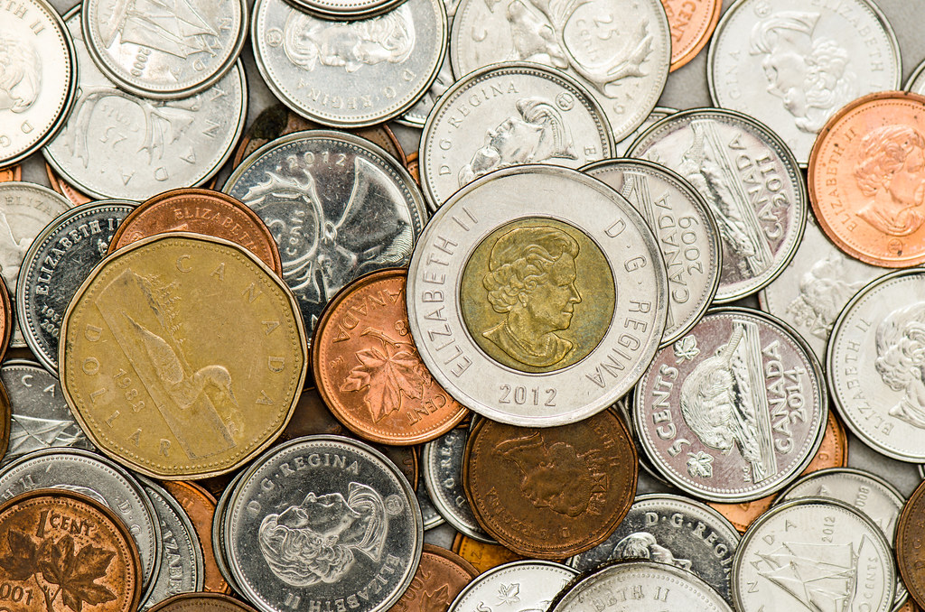 A pile of Canadian coins of various denominations