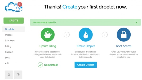 Create your droplet at Digital Ocean for your Ghost Blog