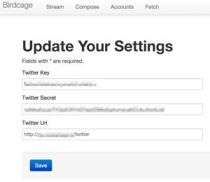 Configure the OAuth Twitter API keys