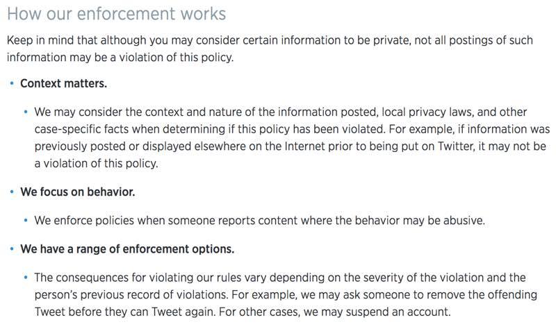 Twitter rules on private information