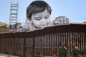 mural large child mexican border wall
