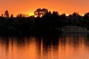 sunset, green lake