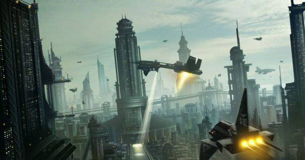 Artistic rendering of a futuristic city with spaceships taking off