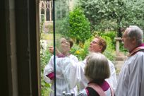 In the herb garden in the Cloister.
